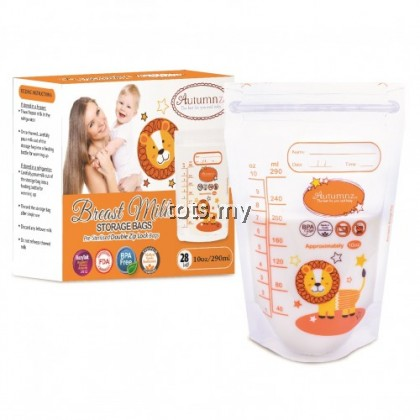 AUTUMNZ DOUBLE ZIPLOCK BREASTMILK STORAGE BAG (28 BAGS) - 10 OZ
