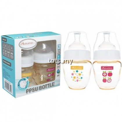 AUTUMNZ PPSU WIDE NECK FEEDING BOTTLE 4OZ/120ML (TWIN PACK) - STARRY SPARKLE + JUICY APPLE