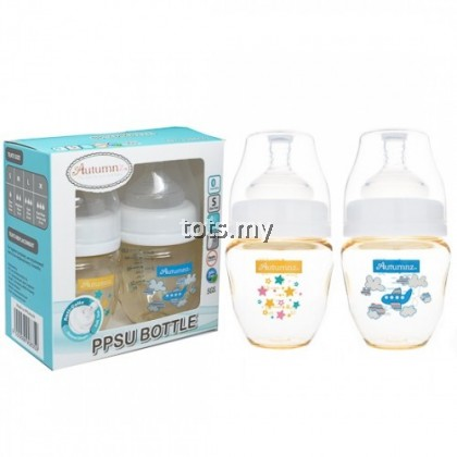 AUTUMNZ PPSU WIDE NECK FEEDING BOTTLE 4OZ/120ML (TWIN PACK) - STARRY SPARKLE + FLY WITH ME