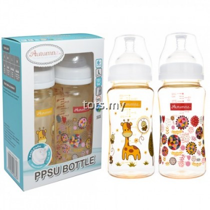 AUTUMNZ PPSU WIDE NECK FEEDING BOTTLE 10OZ/300ML ( TWIN PACK) *JOVIAL GIRAFFE/ABSTRACT*