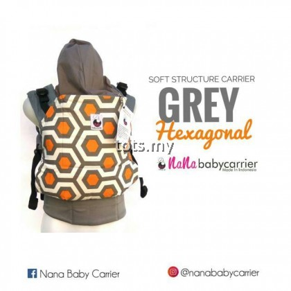 NANA BABY CARRIER STANDARD SIZE - GREY HEXAGONAL