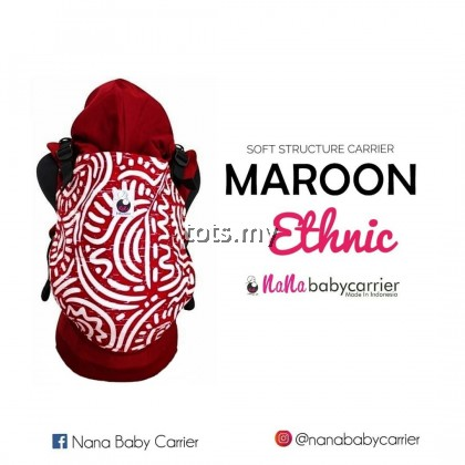 NANA BABY CARRIER STANDARD SIZE - MAROON ETHNIC